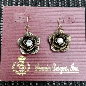 Antiqued Silver Flower Earrings